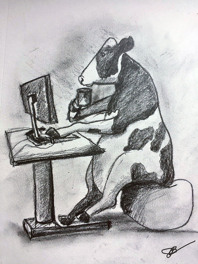 C = Cow on the Computer with Coffee