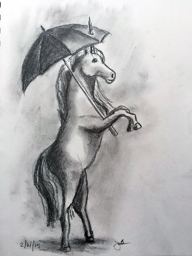 U = Unicorn with Umbrella